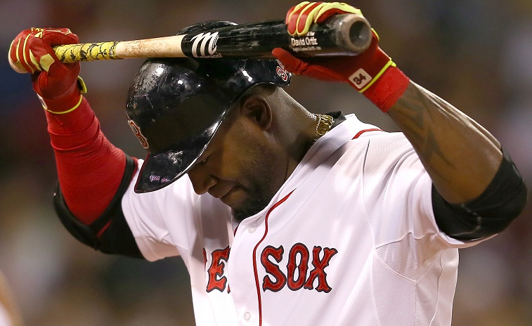 BOSTON, MA - MAY 23: David Ortiz #34 of the Boston Red Sox reacts after making an out in the sixth inning against the Los Angeles Angels at Fenway Park on May 23, 2015 in Boston, Massachusetts. (Photo by Jim Rogash/Getty Images) Jim Rogash/Getty Images
