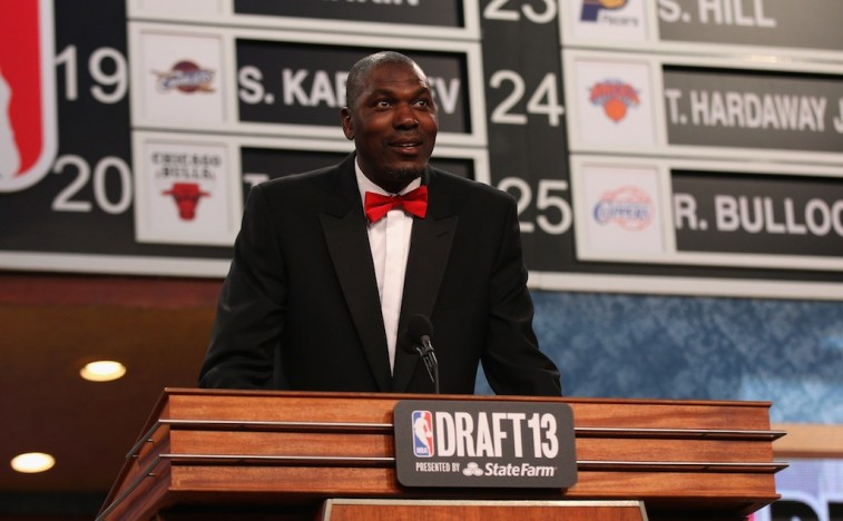 Hakeem Olajuwon speaks during an NBA draft.
