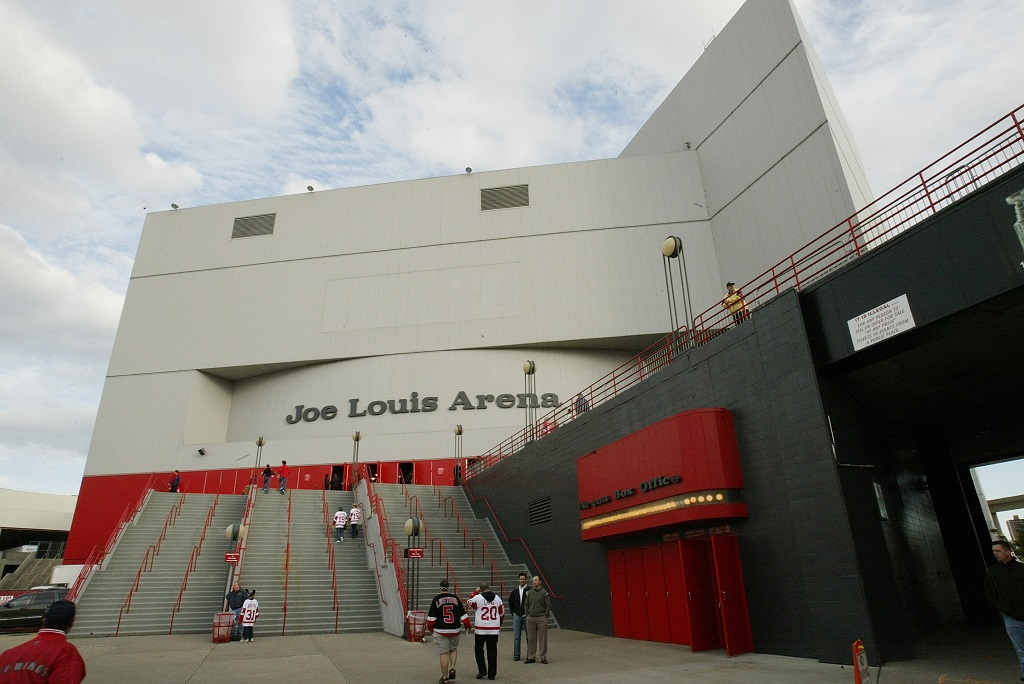 DETROIT - OCTOBER 5: The exterior of Joe Louis Arena is shown before the Vancouver Canucks game against the Detroit Red Wings at Joe Louis Arena on October 5, 2006 in Detroit, Michigan.The Canucks won 3-1.
