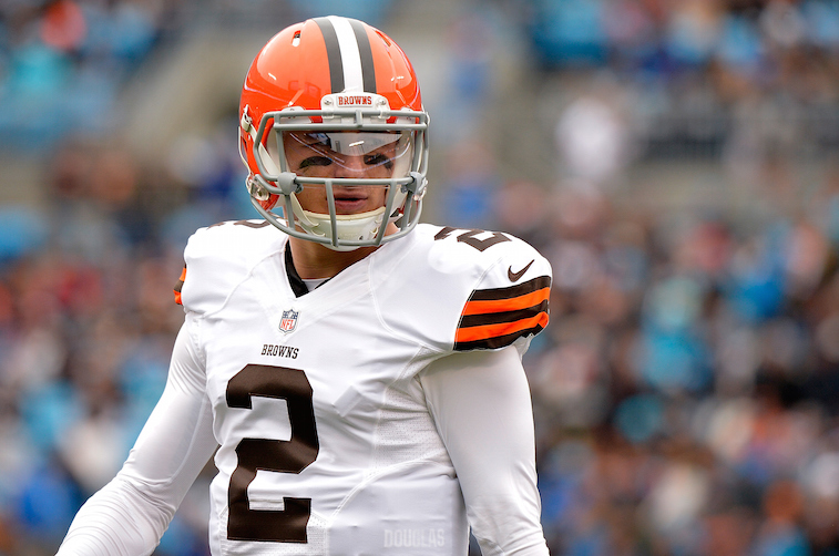 CHARLOTTE, NC - DECEMBER 21:  Johnny Manziel #2 of the Cleveland Browns looks to the sideline during their game against the Carolina Panthers at Bank of America Stadium on December 21, 2014 in Charlotte, North Carolina.  (Photo by Grant Halverson/Getty Images)