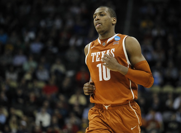 PITTSBURGH, PA - MARCH 19: Jonathan Holmes #10 of the Texas Longhorns plays against the Butler Bulldogs during the second round of the 2015 NCAA Men's Basketball Tournament at Consol Energy Center on March 19, 2015 in Pittsburgh, Pennsylvania.