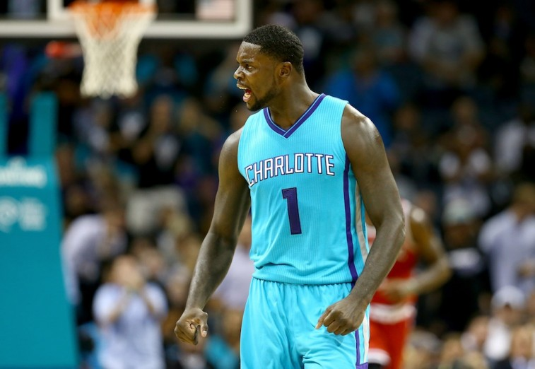 Lance Stephenson reacts after hitting a shot against Milwaukee