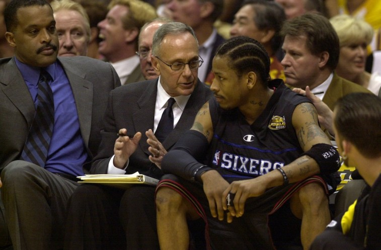 Larry Brown and Allen Iverson chat during the NBA Finals