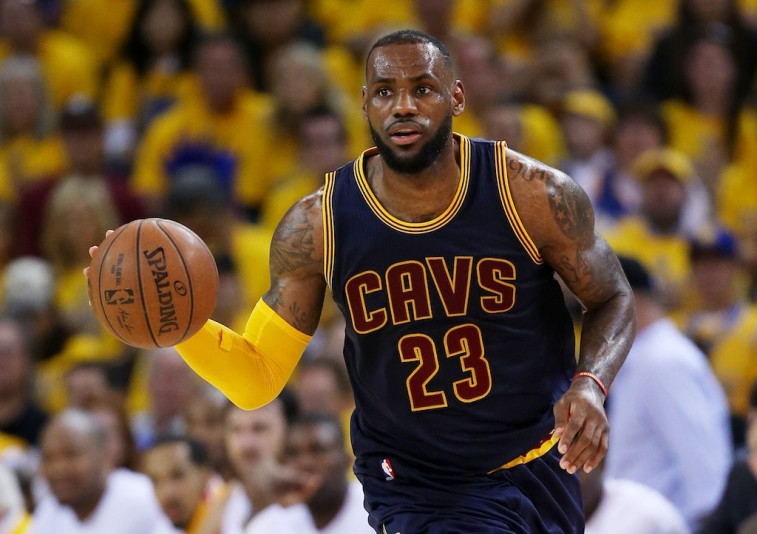 LeBron James dribbles in the 2015 NBA Finals