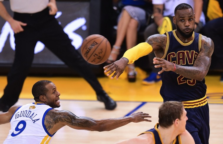 LeBron James passes out of the double team in Game 2