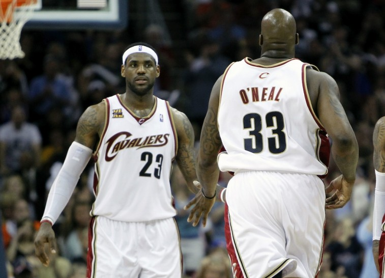 LeBron James and Shaquille O'Neal get back on defense