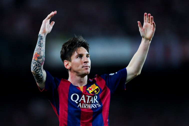 Lionel Messi celebrates after scoring a goal at the Copa del Rey