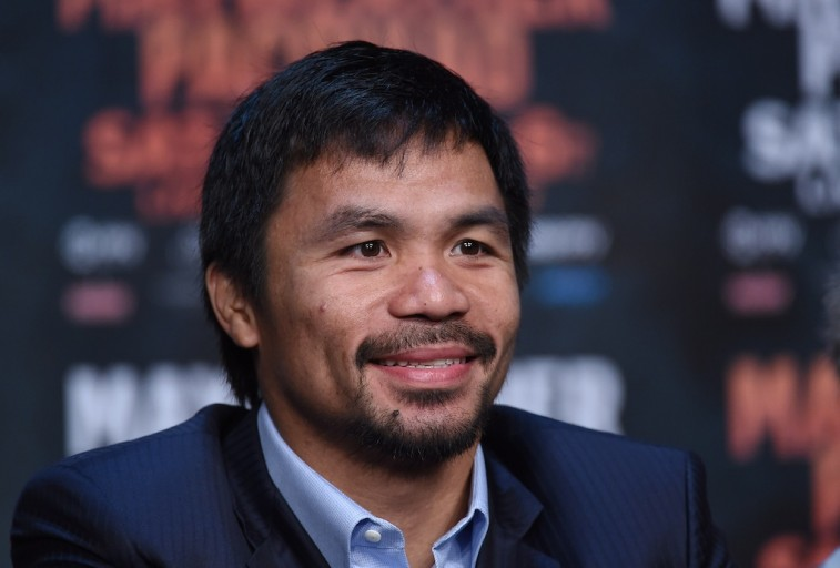 Manny Pacquiao at press conference prior to the Mayweather fight
