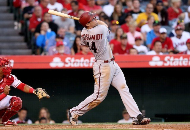 Paul Goldschmidt swings and makes contact.