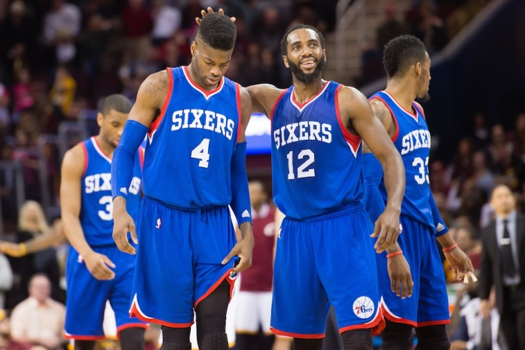Philadelphia 76ers react after losing to the Cleveland Cavaliers