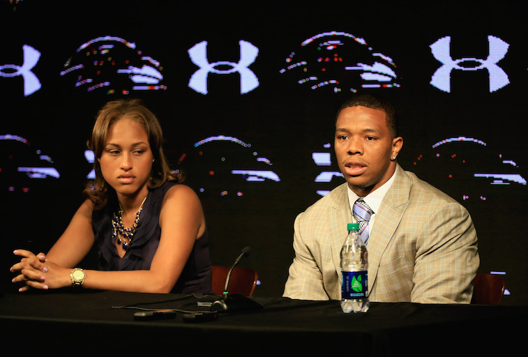 Running back Ray Rice of the Baltimore Ravens addresses a news conference with his wife Janay at the Ravens training center on May 23, 2014 in Owings Mills, Maryland. Rice spoke publicly for the first time since facing felony assault charges stemming from a February incident involving Janay at an Atlantic City casino.