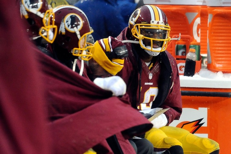 Robert Griffin III on the bench