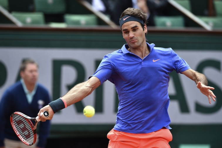 Roger Federer returns a shot during the 2015 French Open