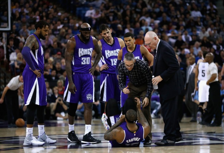 Sacramento Kings look on following DeMarcus Cousins's injury