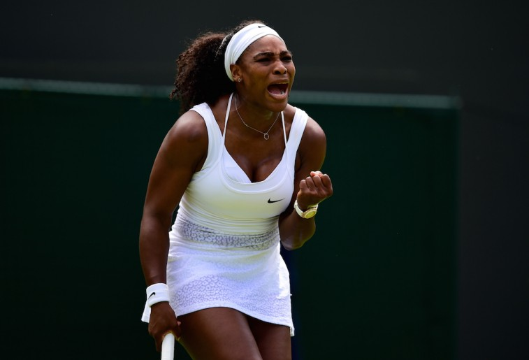 Serena Williams reacts in her first round match at the 2015 Wimbledon