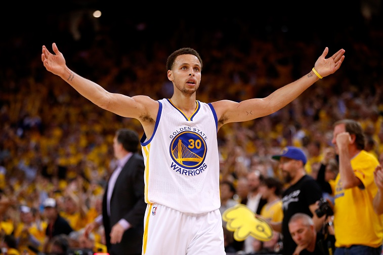 Stephen Curry excites the Golden State crowd.