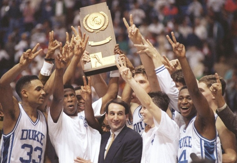 1992 Duke Blue Devils celebrate their second national championship in a row