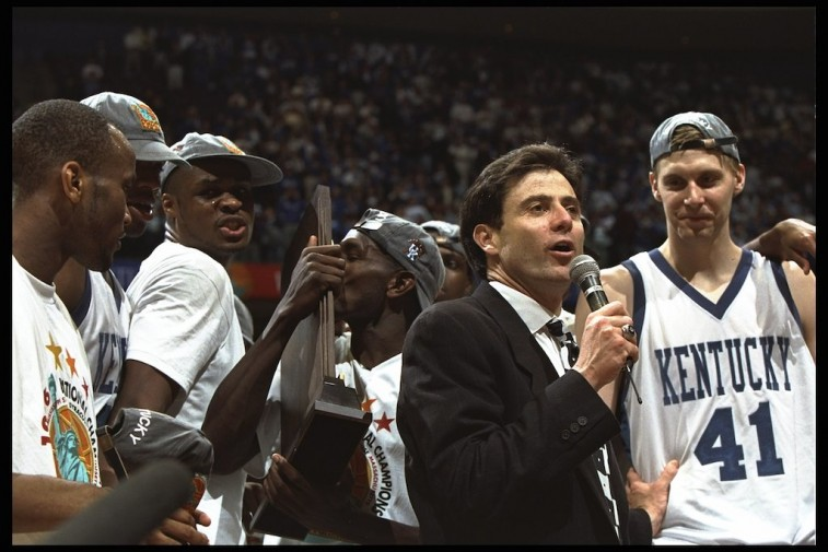 Rick Pitino talks to crowd after Kentucky Wildcats win title in 1996