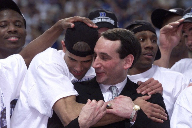 Duke players thank Coach K for his dedication.