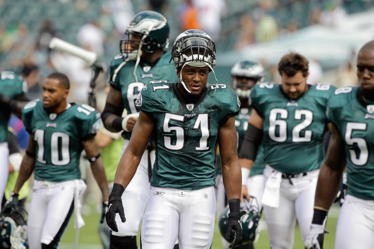 PHILADELPHIA, PA - SEPTEMBER 25: Jamar Chaney #51 of the Philadelphia Eagles walks off the field before the start of the Eagles game against the New York Giants at Lincoln Financial Field on September 25, 2011 in Philadelphia, Pennsylvania. (Photo by Rob Carr/Getty Images)