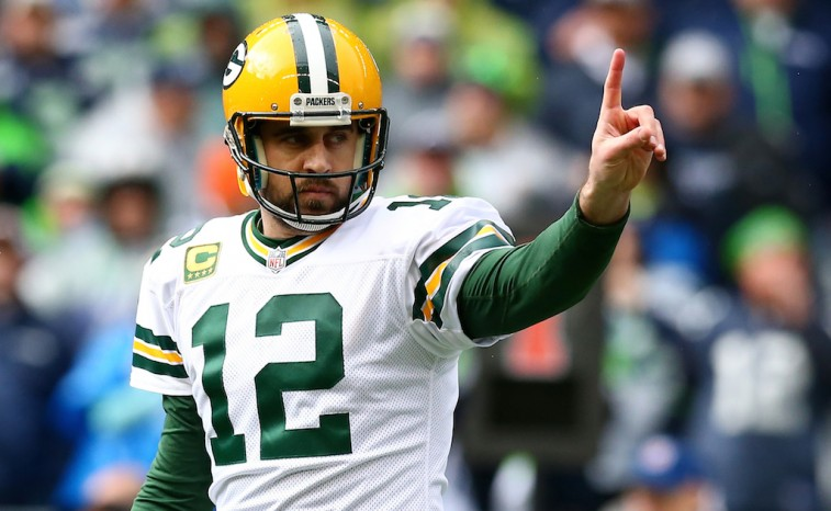Aaron Rodgers reacts in the NFC Championship game against the Seahawks