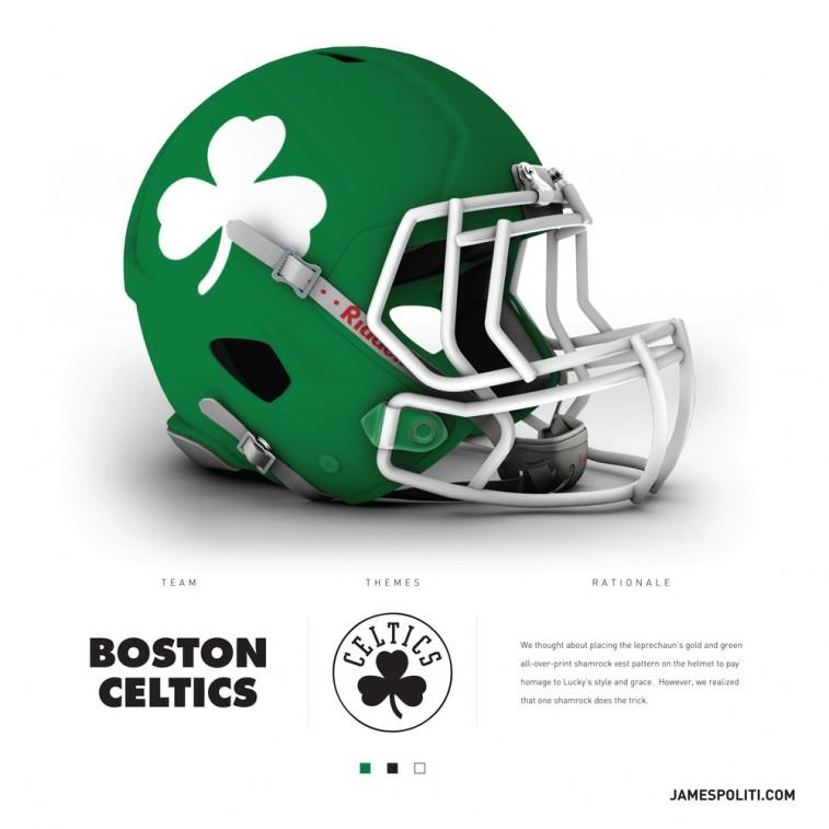 Boston Celtics football helmet