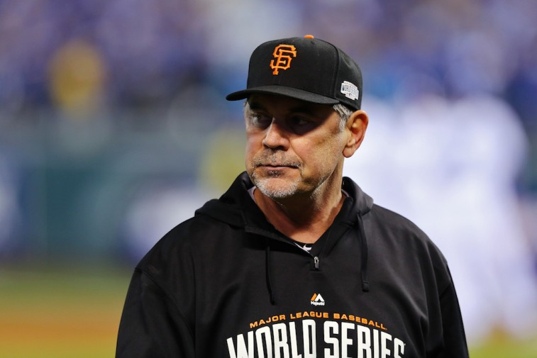 Bruce Bochy manages in the World Series