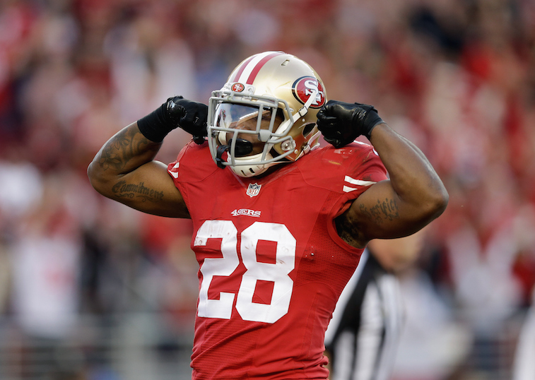 Running back Carlos Hyde of the San Francisco 49ers celebrates a touchdown.