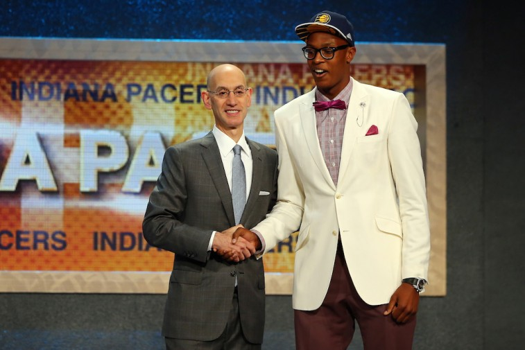 Myles Turner and Adam Silver at the 2015 NBA Draft