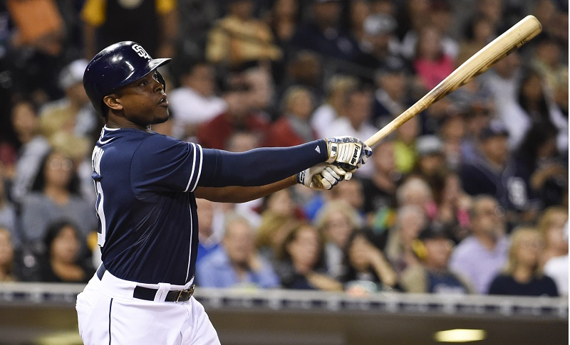 SAN DIEGO, CA - JUNE 27:  Justin Upton #10 of the San Diego Padres hits a two-run home run during the fifth inning of a baseball game against the Arizona Diamondbacks at Petco Park June 27, 2015 in San Diego, California.   (Photo by )