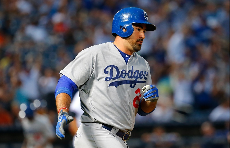 Adrian Gonzalez runs the bases.