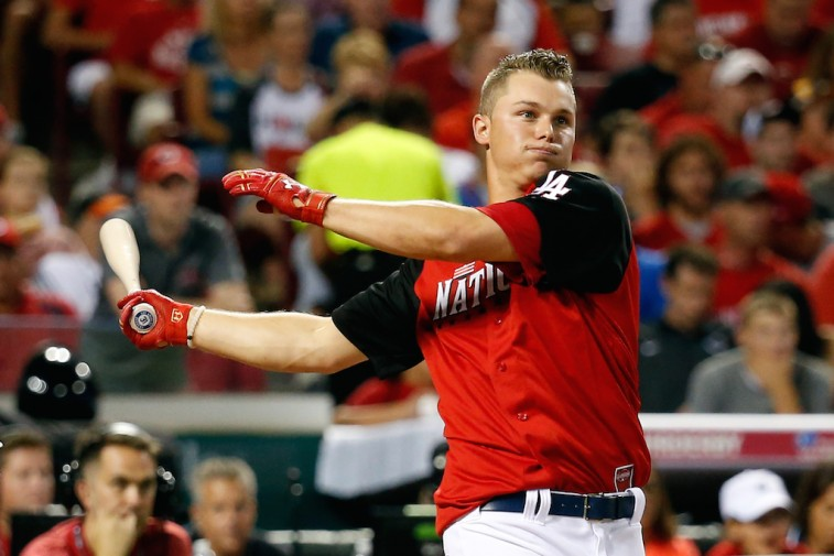 Joc Pederson bats during Home Run Derby