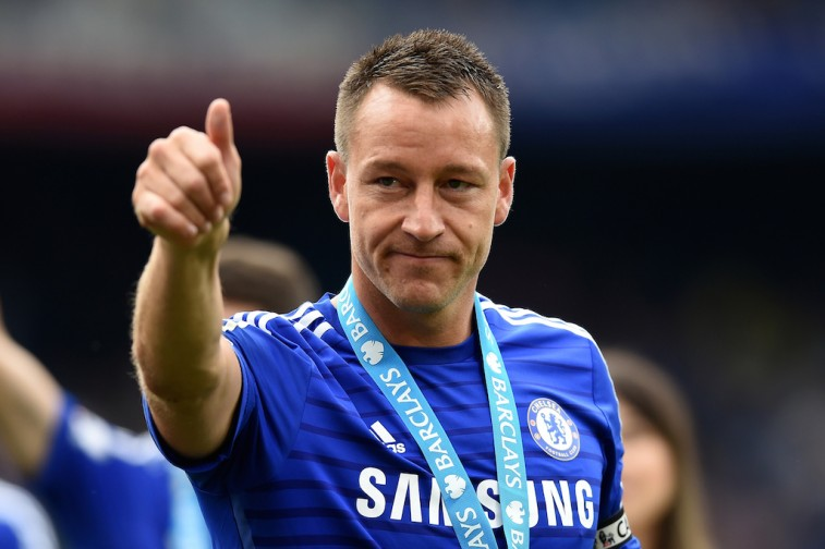 John Terry celebrates after winning the Premier League