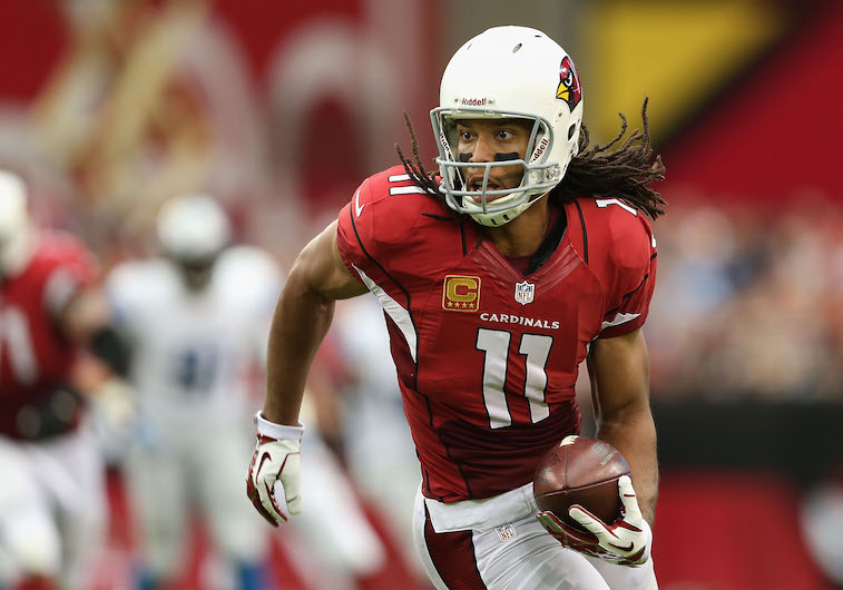 Larry Fitzgerald sprints toward the end zone.