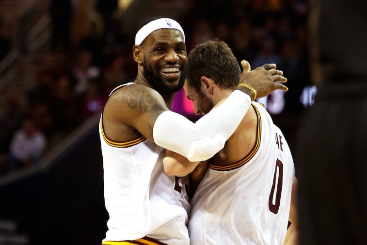 LeBron James and Kevin Love celebrate together