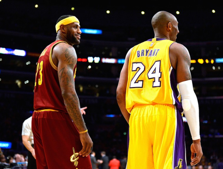 LeBron James and Kobe Bryant chat