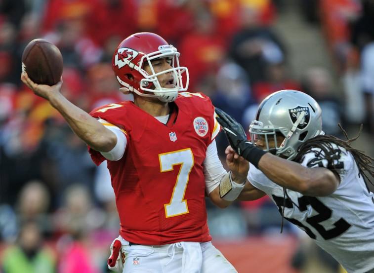 Matt Cassel under pressure against the Oakland Raiders