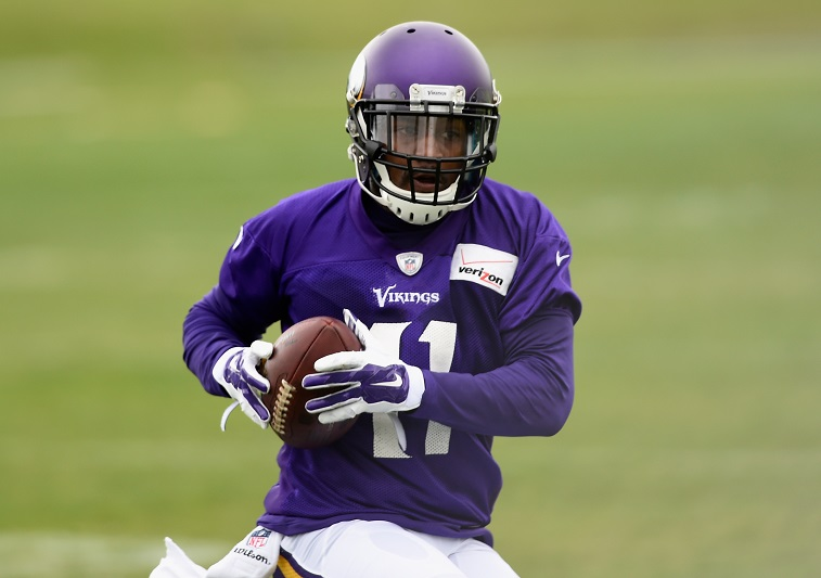 EDEN PRAIRIE, MN - JUNE 4: Mike Wallace #11 of the Minnesota Vikings makes a catch during practice on June 4, 2015 at Winter Park in Eden Prairie, Minnesota. (Photo by )