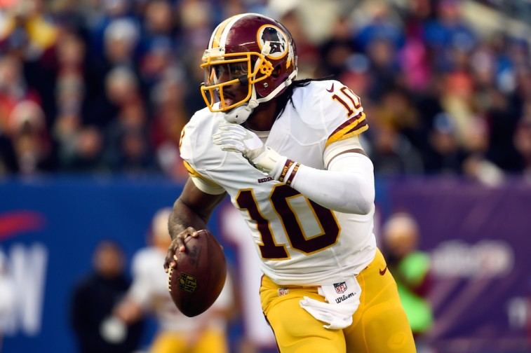 Robert Griffin III tries to make a play against the Giants