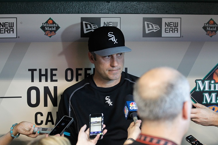 HOUSTON, TX - MAY 29: Manager Robin Ventura #23 of the Chicago White Sox talks with the media before playing the Houston Astros at Minute Maid Park on May 29, 2015 in Houston, Texas.