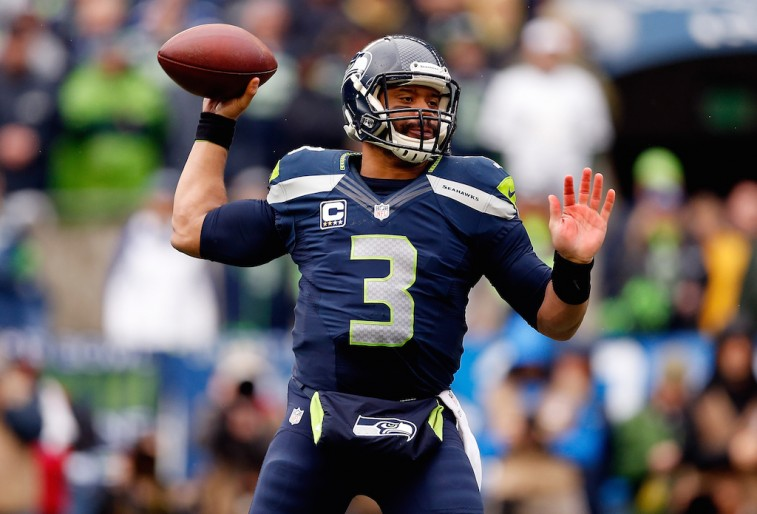 Russell Wilson throws in the NFC Championship game