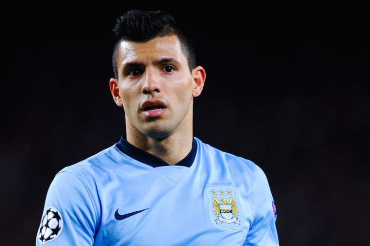 Sergio Aguero looks on during a Champions League match