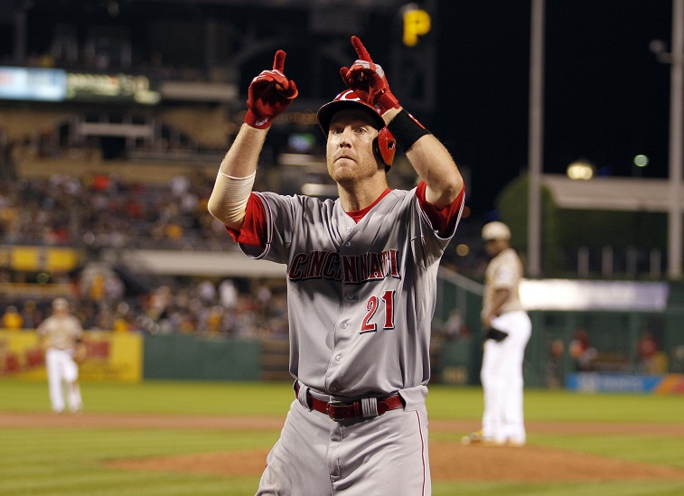 PITTSBURGH, PA - JUNE 25:  Todd Frazier #21 of the Cincinnati Reds celebrates after hitting a two run home run in the seventh inning during the game against the Pittsburgh Pirates at PNC Park on June 25, 2015 in Pittsburgh, Pennsylvania.
