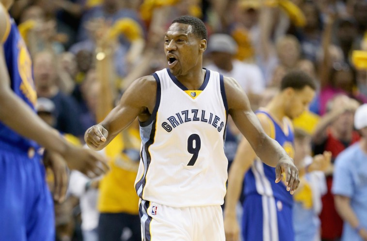 Tony Allen celebrates hitting a shot against the Golden State Warriors