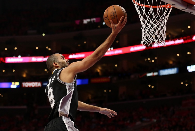 Tony Parker goes up for a layup.