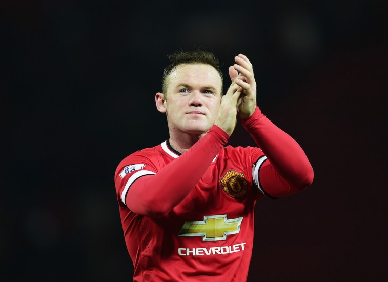 Wayne Rooney celebrates after the match