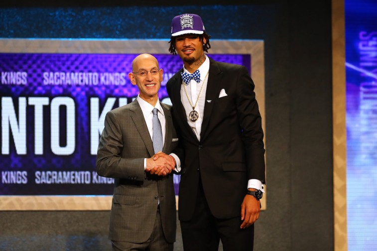 NEW YORK, NY - JUNE 25: Willie Cauley-Stein poses with Commissioner Adam Silver after being selected sixth overall by the Sacramento Kings in the First Round of the 2015 NBA Draft at the Barclays Center on June 25, 2015 in the Brooklyn borough of New York City. NOTE TO USER: User expressly acknowledges and agrees that, by downloading and or using this photograph, User is consenting to the terms and conditions of the Getty Images License Agreement.