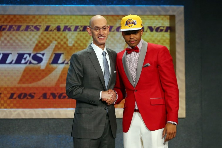 D'Angelo Russell shakes Adam Silver's hand after being selected by the Lakers during the 2015 NBA Draft