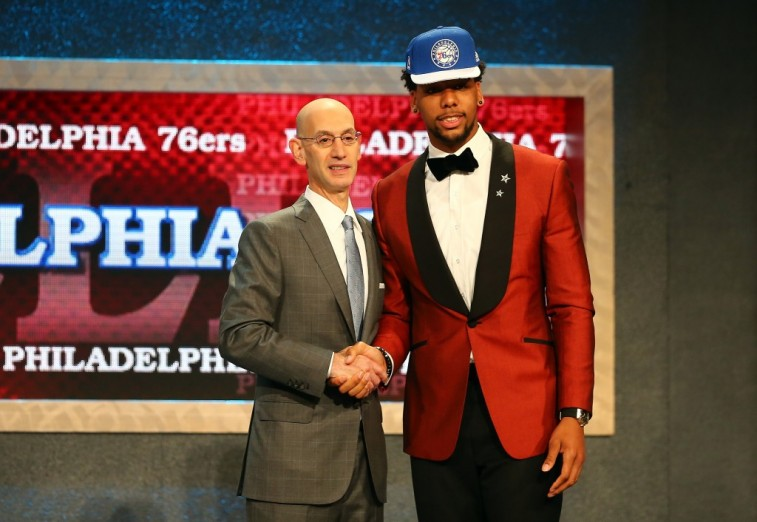 Adam Silver shakes hands with Jahlil Okafor at the 2015 NBA Draft