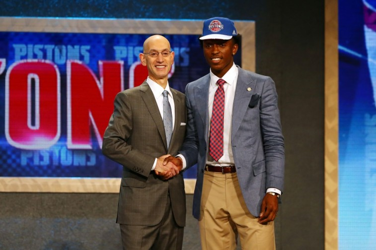 Stanley Johnson shakes Adam Silver's hand after being selected by the Pistons during the 2015 NBA Draft